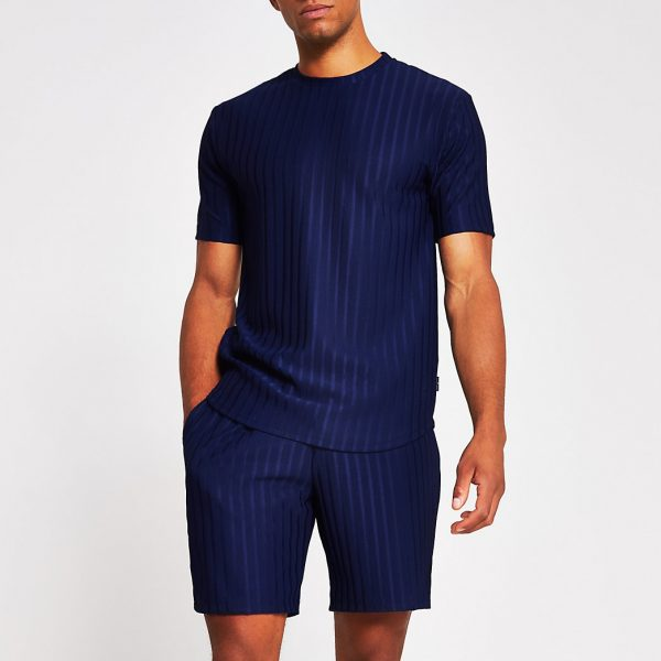 River Island Mens Navy slim fit rib T-shirt