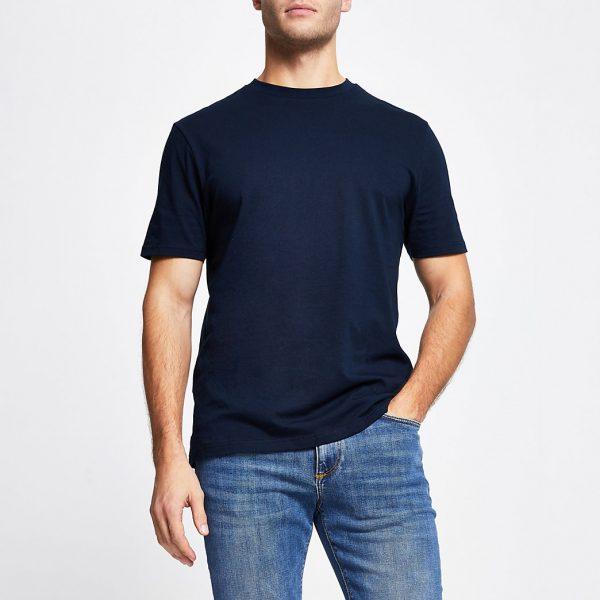 River Island Mens Navy slim fit short sleeve t-shirt