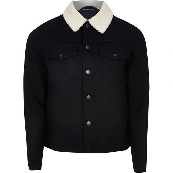 River Island Mens Navy wool jacket