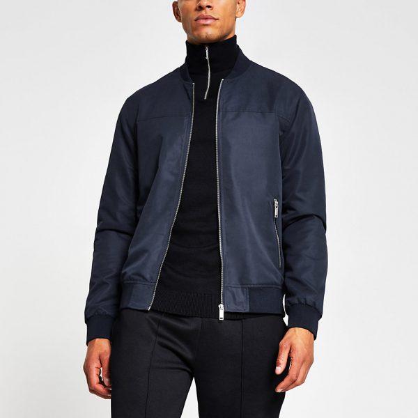 River Island Mens Navy zip front bomber jacket