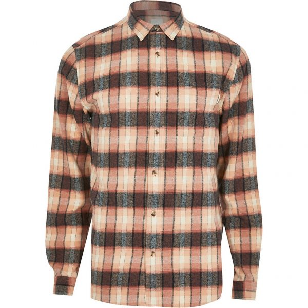 River Island Mens Pink check long sleeve slim fit shirt