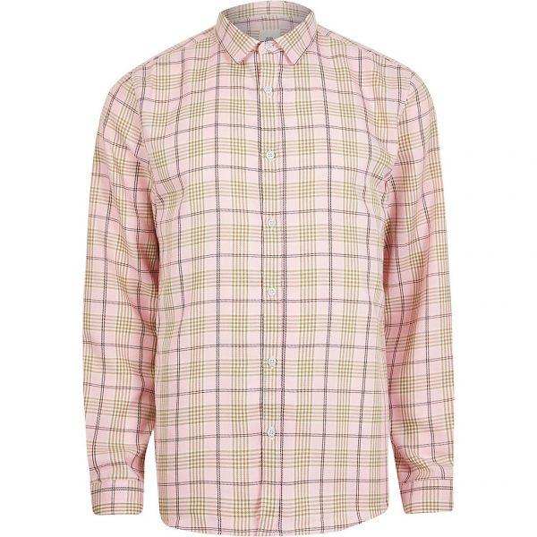 River Island Mens Pink check print long sleeve shirt