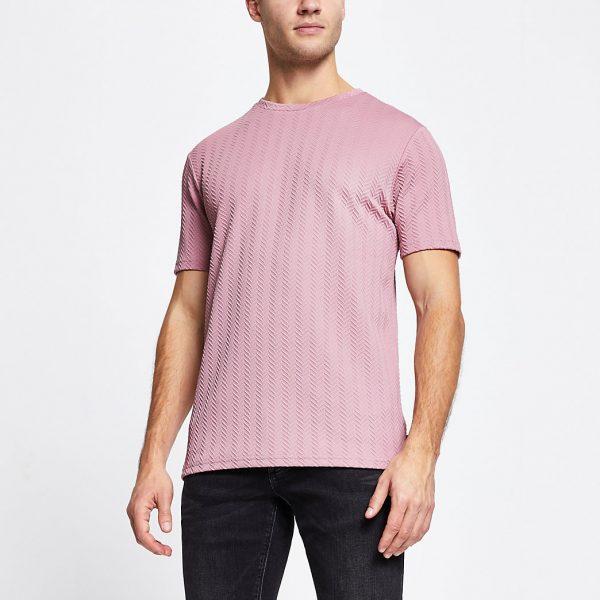 River Island Mens Pink chevron detail slim fit t-shirt