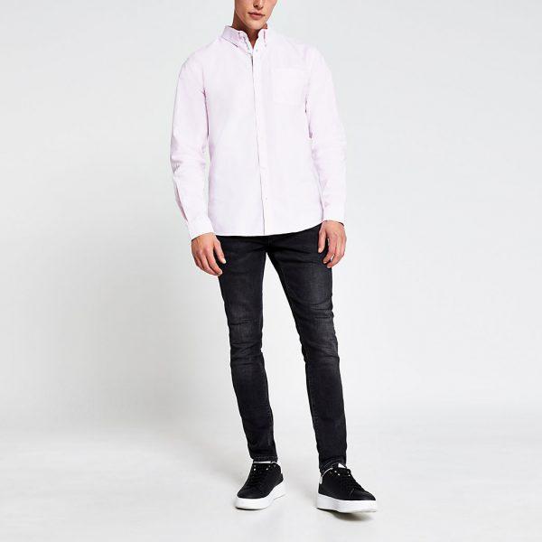 River Island Mens Pink long sleeve regular fit oxford shirt