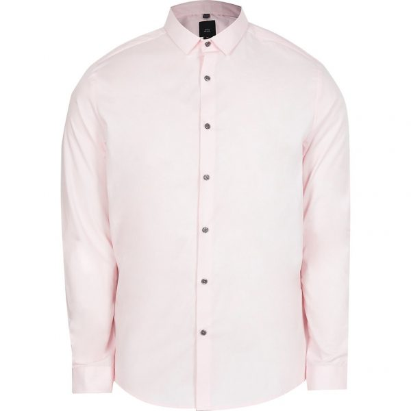 River Island Mens Pink long sleeve slim fit shirt