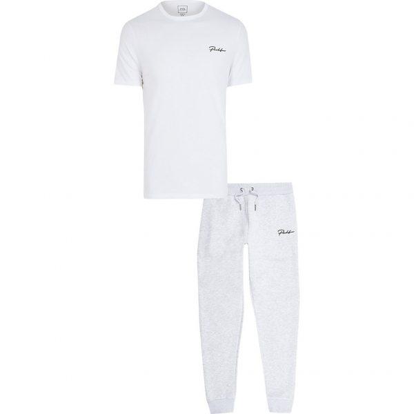 River Island Mens Prolific grey t-shirt and jogger set