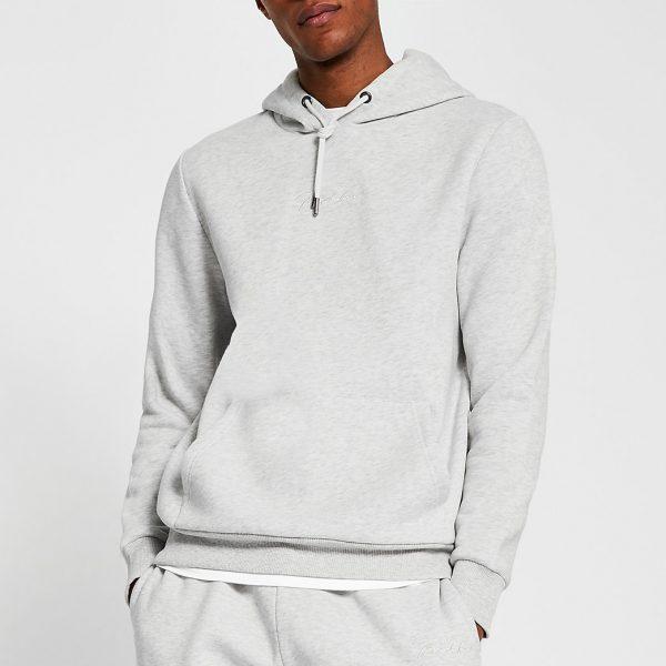 River Island Mens Prolific stone slim fit hoodie