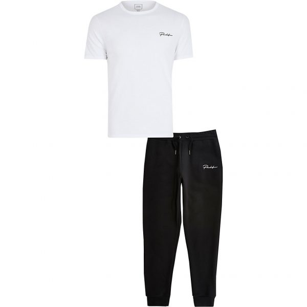 River Island Mens Prolific white t-shirt and jogger set