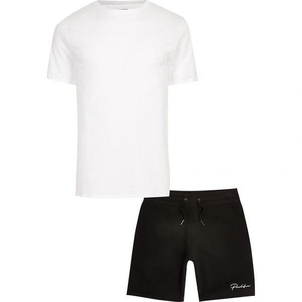 River Island Mens Prolific white t-shirt and short set