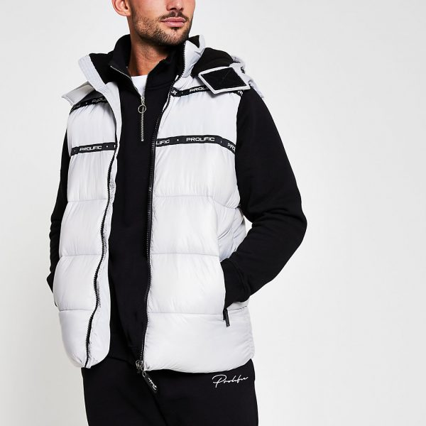 River Island Mens Prolific white wet look hooded gilet
