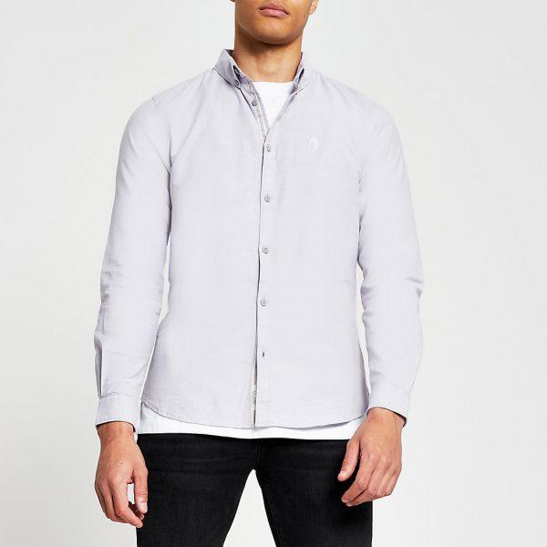 River Island Mens Purple long sleeve slim fit oxford shirt