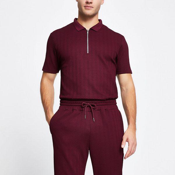 River Island Mens Red chevron slim short sleeve polo shirt