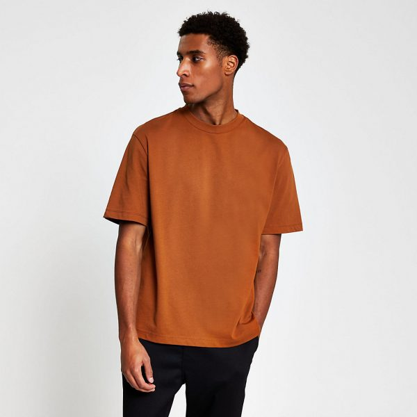 River Island Mens Rust oversized short sleeve t-shirt