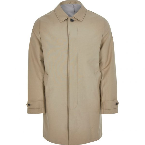 River Island Mens Stone concealed button longline Mac