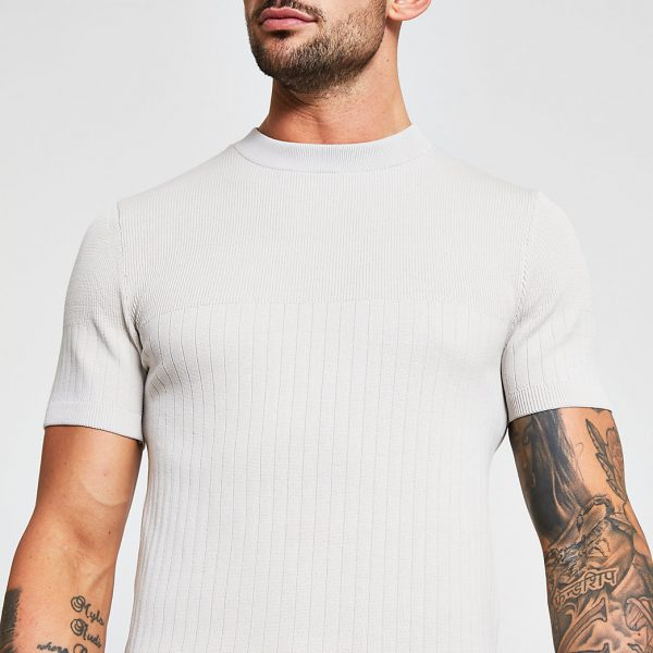 River Island Mens Stone ribbed muscle fit short sleeve t-shirt