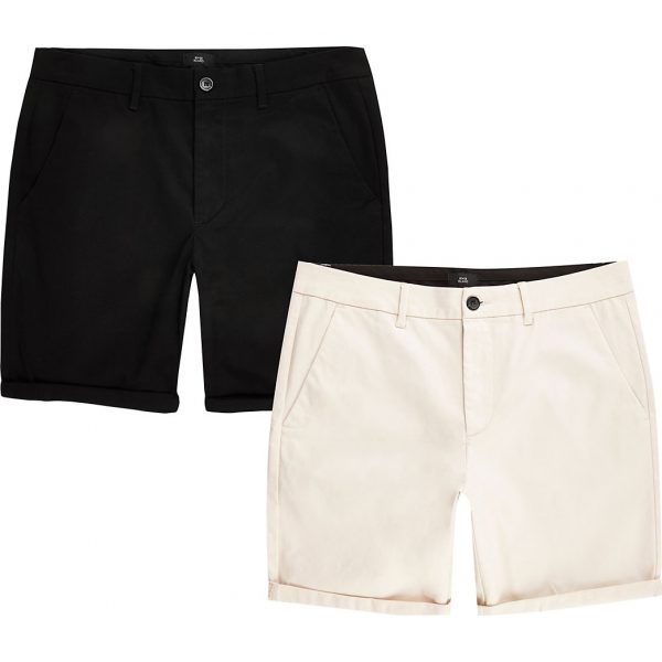 River Island Mens Stone skinny fit chino shorts 2 pack