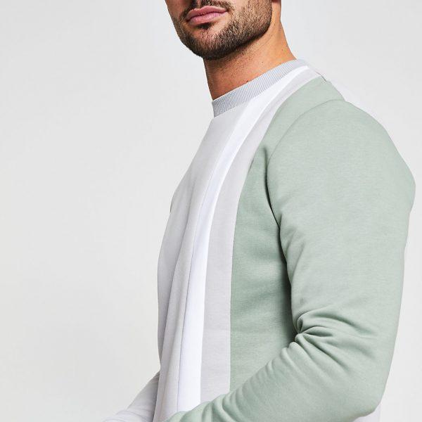 River Island Mens Stone slim fit long sleeve sweatshirt