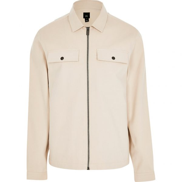 River Island Mens Stone zip through long sleeve shacket