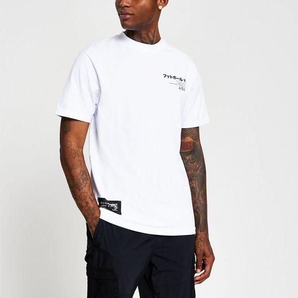 River Island Mens White Japanese print regular fit T-shirt