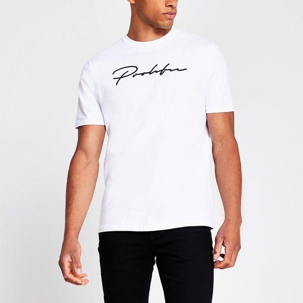 River Island Mens White 'Prolific' slim fit t-shirt