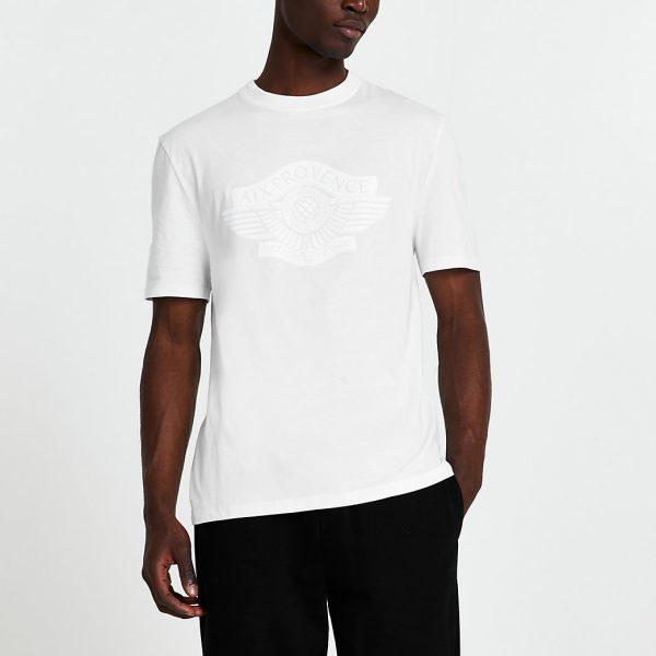 River Island Mens White 'Provence' short sleeve t-shirt