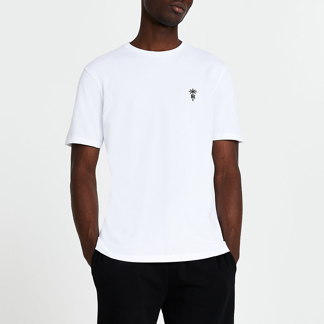 Men/'s Guess Palm Tree Crew Neck Slim Fit Cotton T-Shirt in White