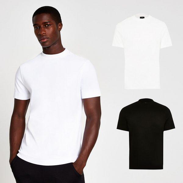 River Island Mens White & black premium slim fit t-shirt 2 pack