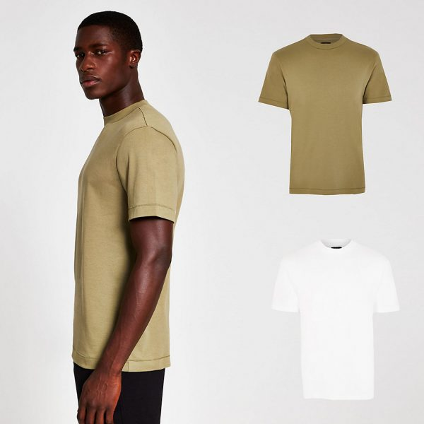 River Island Mens White & khaki premium regular t-shirt 2 pack