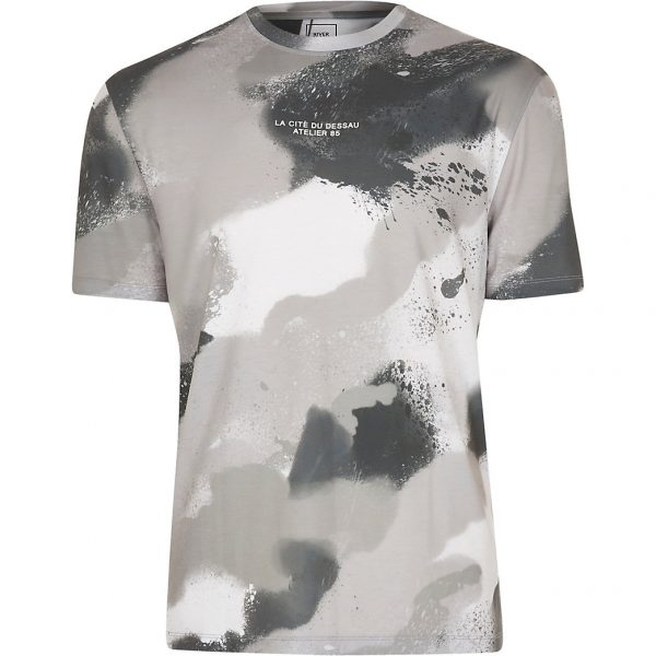 River Island Mens White camo print t-shirt
