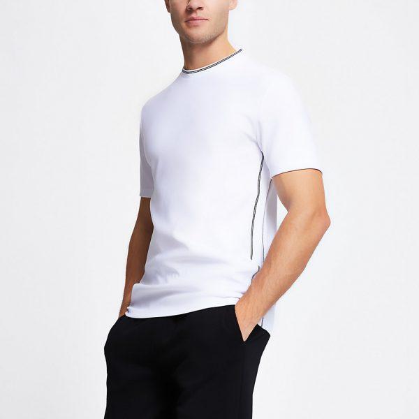 River Island Mens White contrast stitch slim fit t-shirt