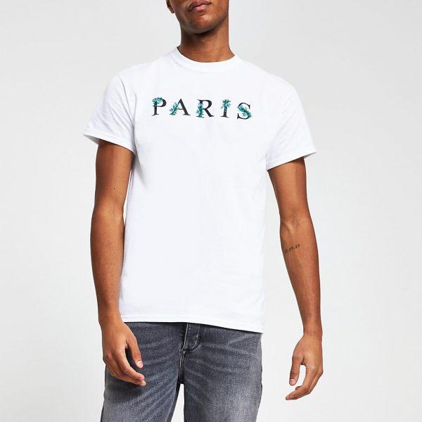 River Island Mens White floral 'Paris' logo t-shirt
