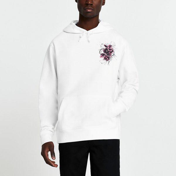 River Island Mens White floral back print hoodie