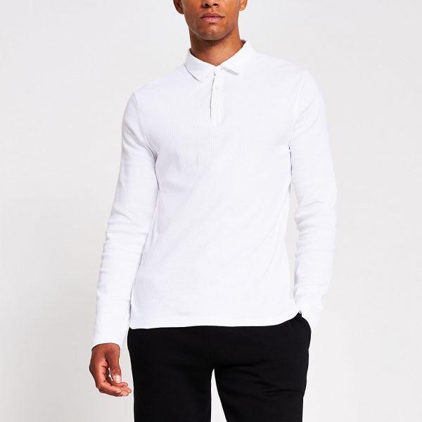 River Island Mens White long sleeve muscle fit rib polo shirt