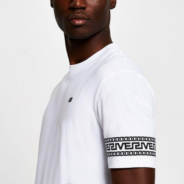 River Island Mens White monogram sleeve slim fit T-shirt