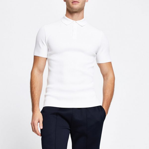 River Island Mens White muscle fit short sleeve polo shirt