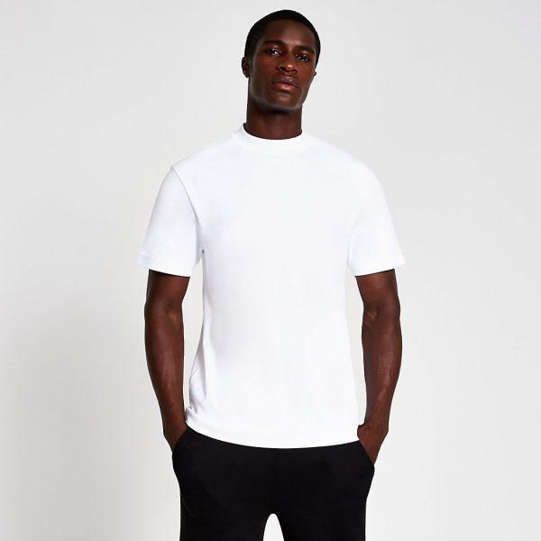 River Island Mens White premium regular fit t-shirt