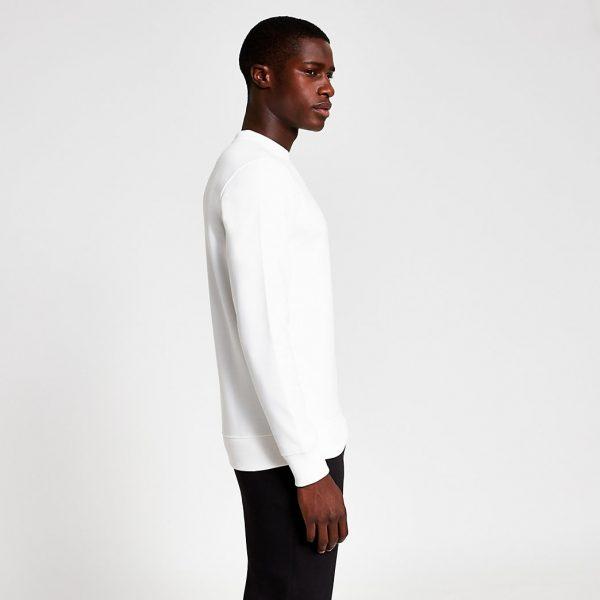 River Island Mens White premium slim fit sweatshirt
