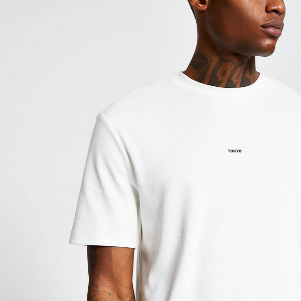 River Island Mens White short sleeve regular 'Tokyo' t-shirt