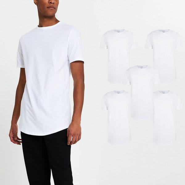 River Island Mens White short sleeve t-shirts 5 pack