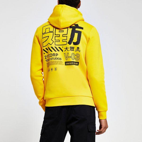 River Island Mens Yellow Japanese back print slim fit hoodie