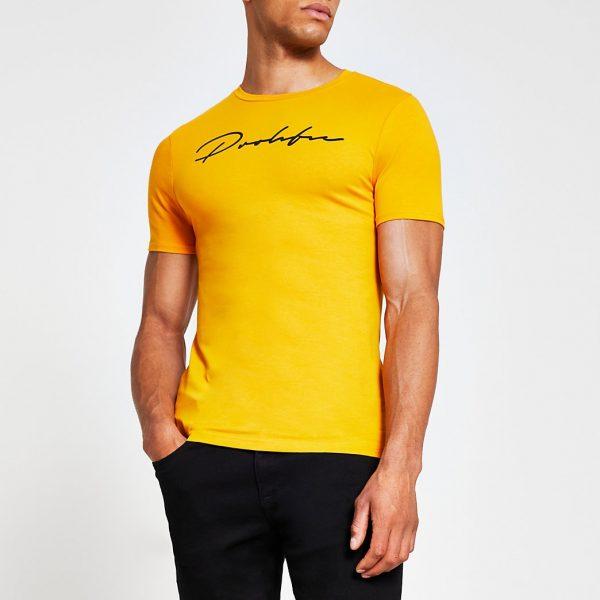 River Island Mens Yellow Prolific short sleeve muscle t-shirt