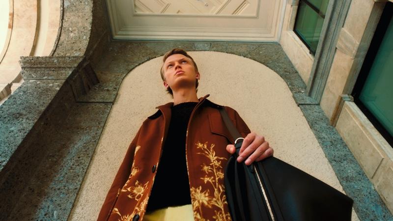 Front and center, Jonas Glöer stars in Salvatore Ferragamo's spring-summer 2021 men's campaign.