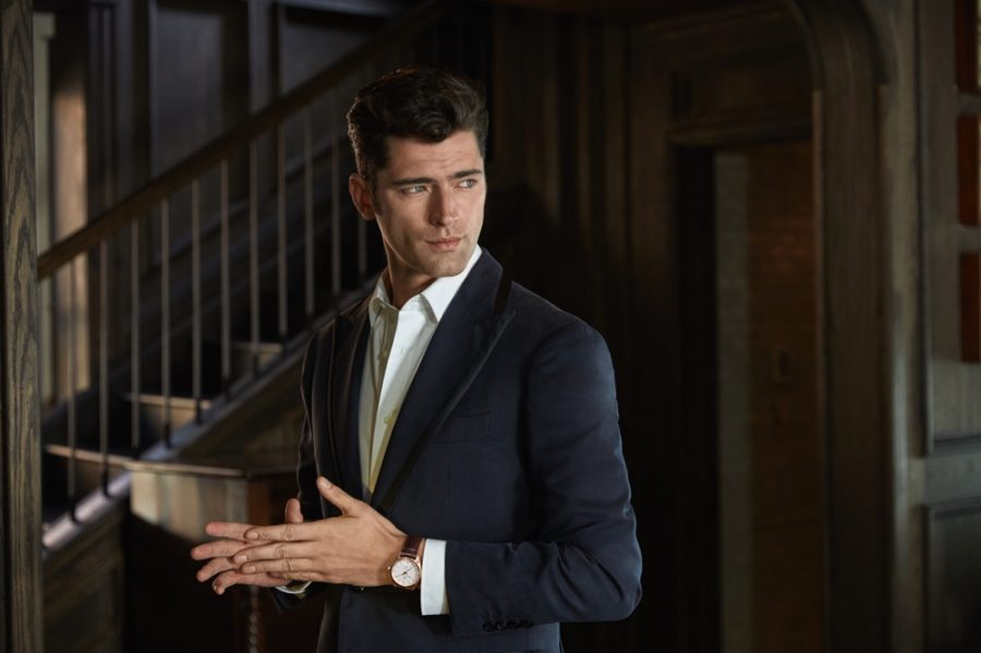 Exuding great charm, Sean O'Pry sports OMEGA's Constellation Globemaster 39mm watch for the brand's social media campaign.