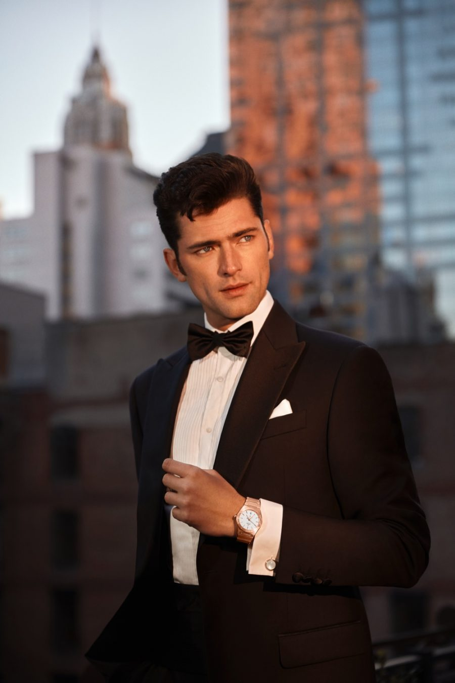 Front and center, Sean O'Pry models OMEGA's Constellation Gent 39mm watch for the brand's social media campaign.
