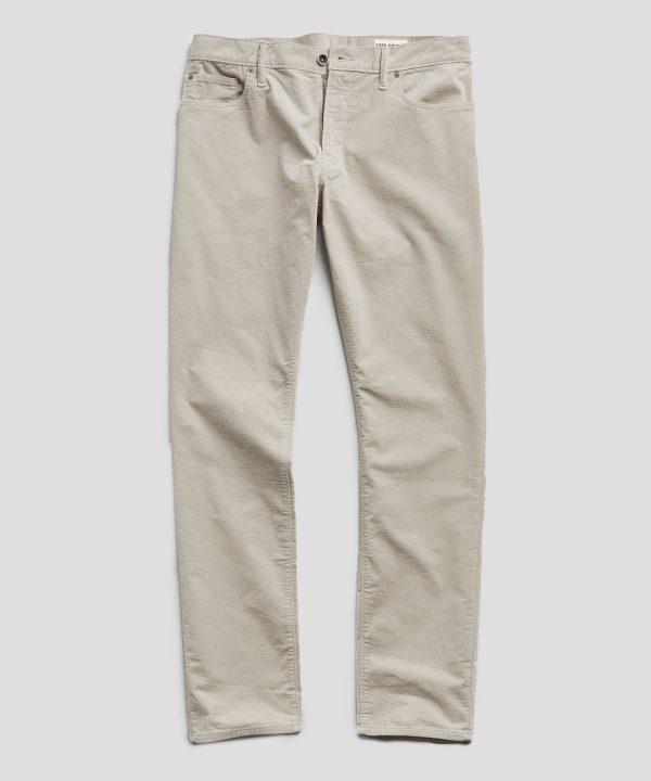 Slim Fit 5-Pocket Stretch Italian Cord in Off White