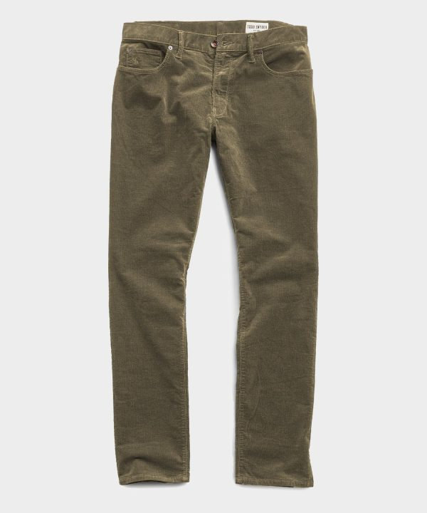 Slim Fit 5-Pocket Stretch Italian Cord in Taupe
