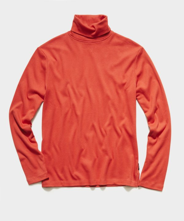 Solid Jersey Turtleneck in Spicy Tomato