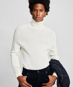 Solid Ribbed Turtleneck in Ivory