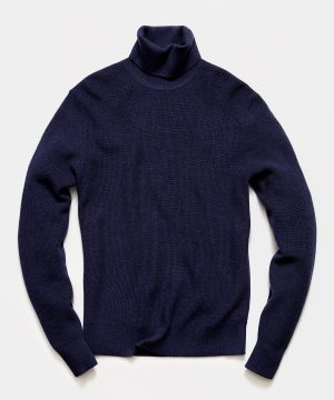 Solid Ribbed Turtleneck in Navy
