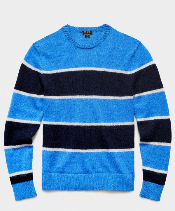 Striped Mohair Crew in Blue
